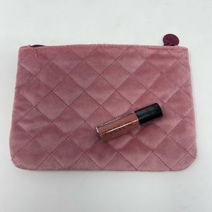 Pink Suede ipsy Clutch w/ Model Co Lipgloss NWOT